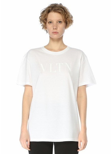 Valentino Valentino VLTN  Bisiklet Yaka T-shirt 101619595 Beyaz